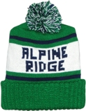 green and white stocking cap